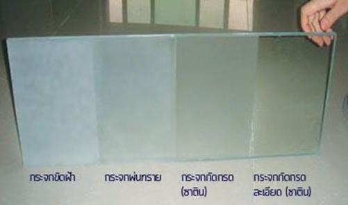 ภาพตัวอย่างเปรียบเทียบกระจกฝ้าจาก www.krajok.com