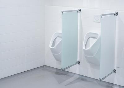 ตัวอย่าง กระจกกั้นห้องน้ำ แบบบานติดตาย