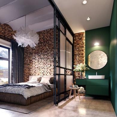 ห้องนอนสไตล์ loft หรือ industrial
